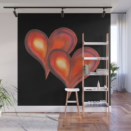 Two watercolor hearts against black background Wall Mural