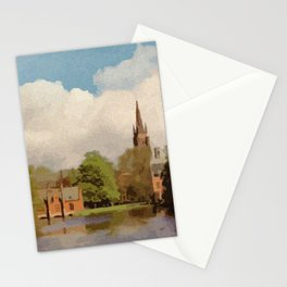 The Lake of Love Bruges art Stationery Cards