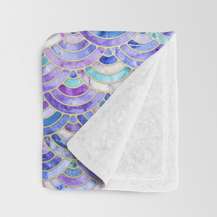 Marble Mosaic in Amethyst and Lapis Lazuli Throw Blanket
