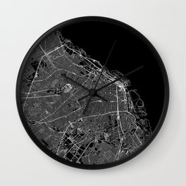 Buenos Aires Black Map Wall Clock