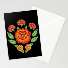 Mexican Folk Pattern – Tehuantepec Huipil flower embroidery Stationery Cards