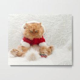 Santa cat with remote control Metal Print