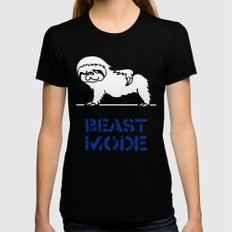 Beast Mode Sloth Black Womens Fitted Tee SMALL