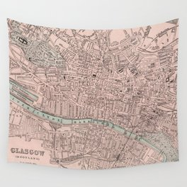 Vintage Map of Glasgow Scotland (1901) Wall Tapestry