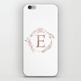 Letter E Rose Gold Pink Initial Monogram iPhone Skin