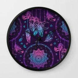 Ultra Violet Dreams, Dream Catcher Enchantment Wall Clock
