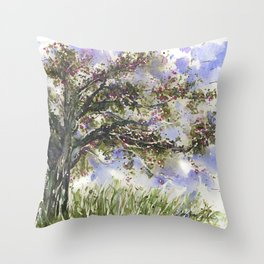 Springtime Fairy Tree watercolor by CheyAnne Sexton Throw Pillow