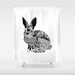 Rabbit floral Shower Curtain