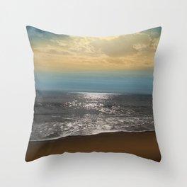Golden Sky Over The Ocean Throw Pillow