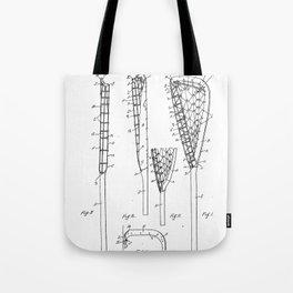 Lacrosse Stick Patent - Lacrosse Player Art - Black And White Tote Bag