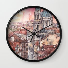 Evening in Prague ink & watercolor illustration Wall Clock