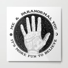 Me & Paranormal You - James Roper Design - Palmistry B&W (black lettering) Metal Print