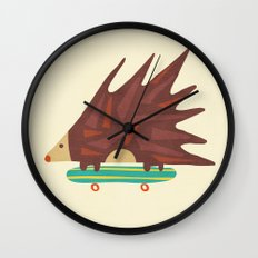 Hedgehog in hair raising speed Wall Clock