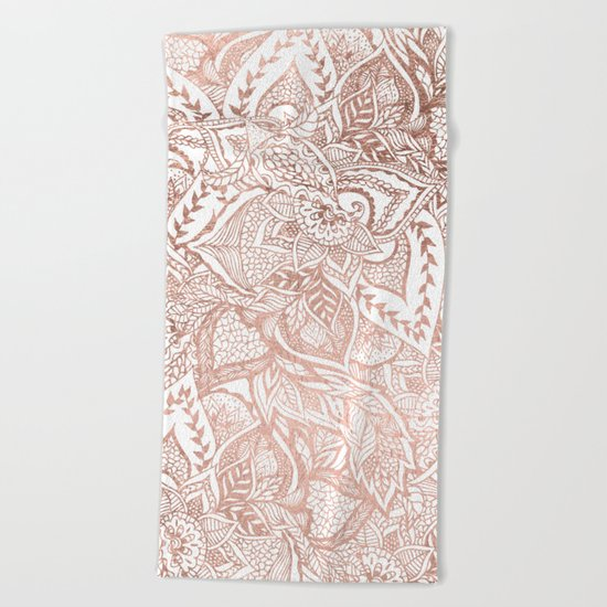 Chic hand drawn rose gold floral mandala pattern Beach Towel