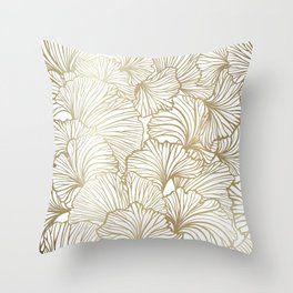 Decorative Art Deco, Leaves, Floral Prints, White and Gold Throw Pillow
