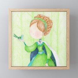 Green little princess with a bird | colored pencils children art Framed Mini Art Print