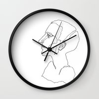 one line Wall Clocks featuring One line One by Sara Pålsson