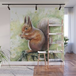 Squirrel and Nut Forest Animals Watercolor Wall Mural
