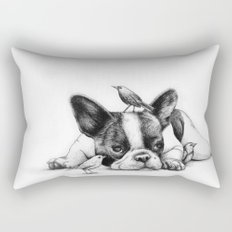 Frenchie and the Birds Rectangular Pillow
