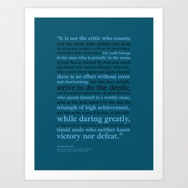 It's Not the Critic That Counts / Blue Art Print