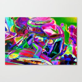 Close up detail of use car engine Canvas Print