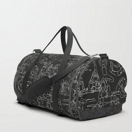 Chalkboard Yoga Pattern - white on black Duffle Bag