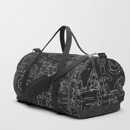 Chalkboard Yoga Pattern - white on black Duffle Bag