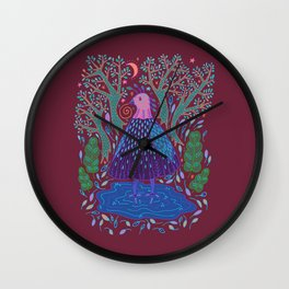 Bird Bath Wall Clock