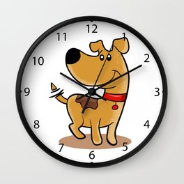 Happy Dog cartoon. adopt a pet.dog sketch. Wall Clock