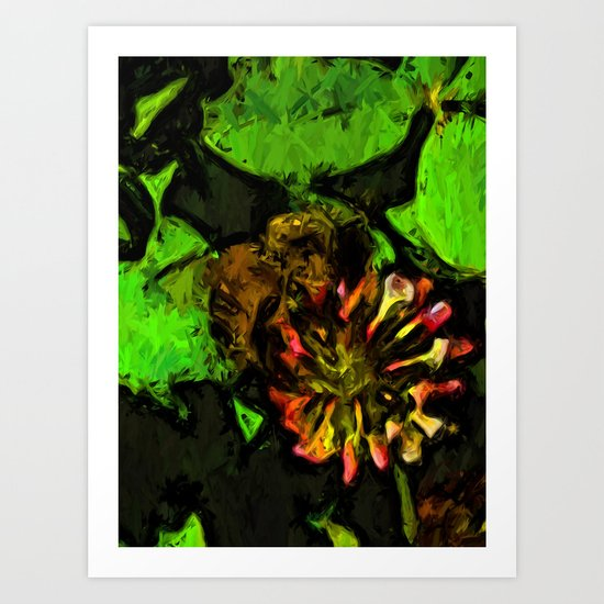 Bee on Pink Clover Flower and Green Leaves Art Print