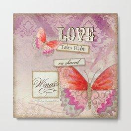 Modern Damask Butterfly Wings, Love Takes Flight Metal Print