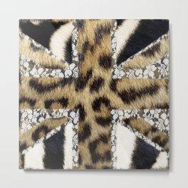 Wild | Hipster leopard Print Zebra UK Union Jack Flag  Metal Print