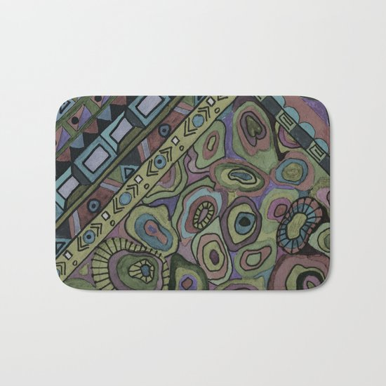 An abstract textured pattern in Oriental style . Bath Mat