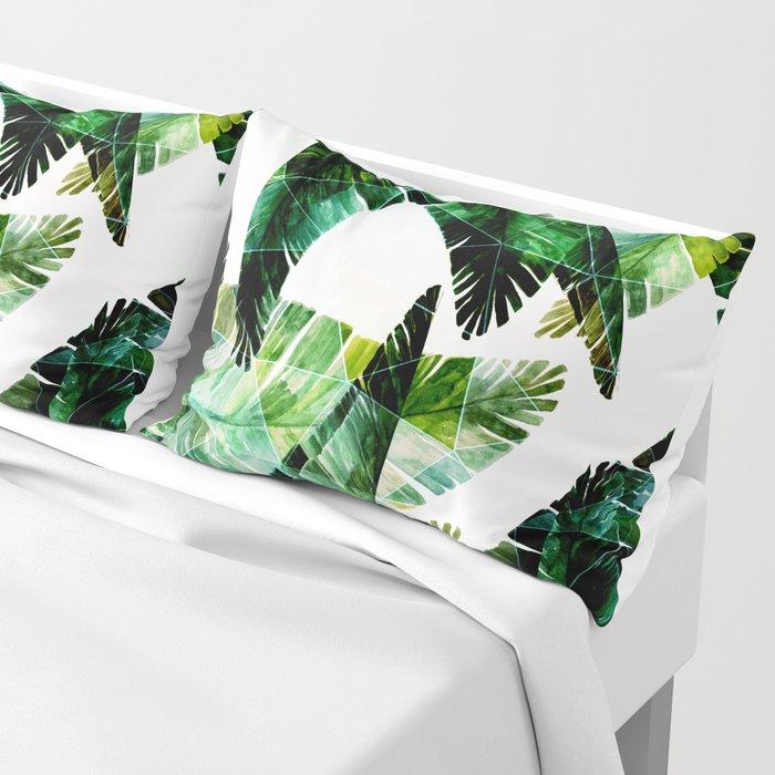 Green leaves of a banana. 2 Pillow Sham