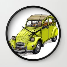 Yellow 2CV Wall Clock