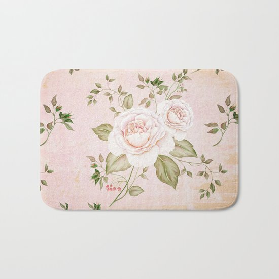 Vintage & Shabby -  floral roses flowers - Rose and Flower Bath Mat