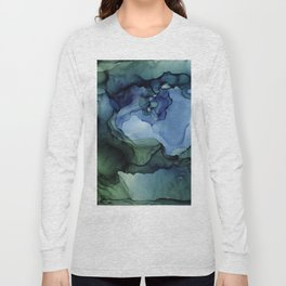 Blue Green Waves Abstract Ink Painting Long Sleeve T-shirt