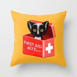FIRST AID KITten | Yellow Throw Pillow