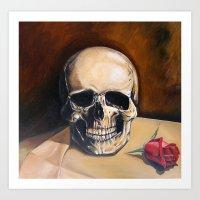 Skull and Rose Still life Art Print