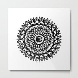 Petal Mandala Ink Drawing Metal Print