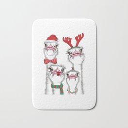 Christmas family ostrich Bath Mat