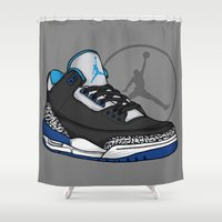 sport Shower Curtains featuring Jordan 3 (Sport Blue) by Pancho the Macho