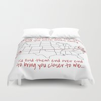 time low Duvet Covers featuring If These Sheets Were States All Time Low Lyrics by andrialou