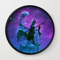 nebula Wall Clocks featuring Nebula Purple Blue Pink by 2sweet4words Designs