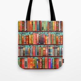 Vintage Books / Christmas bookshelf & holly wallpaper / holidays, holly, bookworm,  bibliophile Tote Bag