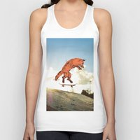 skateboard Tank Tops featuring Skateboard FOX! by Jesse Robinson Williams