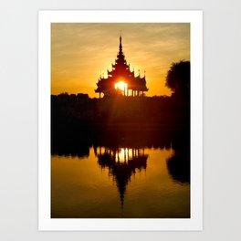 Sunset In Mandalay Art Print