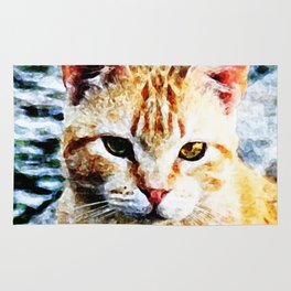 Young Yellow Cat Rug