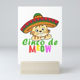 Cute Cinco De Meow Funny Cat Design Mini Art Print