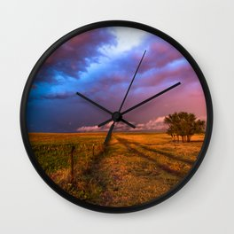 Far and Away - Lone Tree Under Colorful Sky in Oklahoma Panhandle Wall Clock